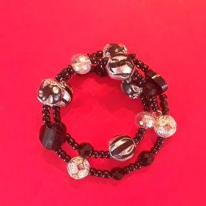 Black and silver wrap bracelet